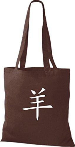 ShirtInStyle Stoffbeutel Chinesische Schriftzeichen Schaf Baumwolltasche Beutel, diverse Farbe chocolate