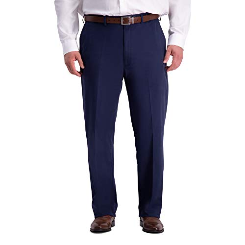 Haggar Herren B&T Work to Weekend PRO Relaxed Fit Flat Front Pant Unterhose, Navy, 52W x 34L Relaxed Fit Flat-front-hose