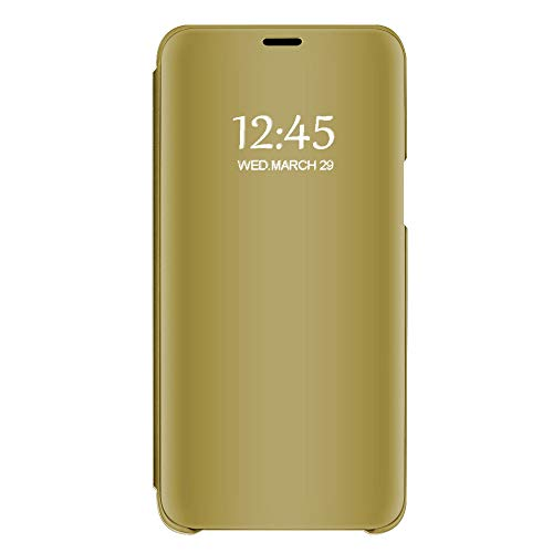 Riyeri Hülle Compatible with Samsung Galaxy A50 Hülle Spiegeln 360 Protection Schutzhülle Flip Tasche Kratzfeste Standfunktion Bumper Samsung A50 Case 2019 (Galaxy A50, gold) Gold Gehäuse Cover