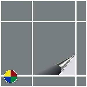 FoLIESEN Fliesenaufkleber 20x25 cm - Fliesen-Folie Bad - Klebefolie Küche - 30 Klebefliesen, Grau matt