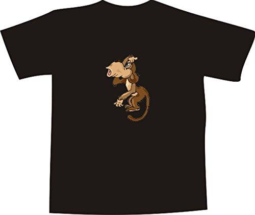 T-Shirt E899 Schönes T-Shirt mit farbigem Brustaufdruck - Logo / Grafik - Comic Design - verwirrter Schimpanse kratzt sich am Kopf Mehrfarbig