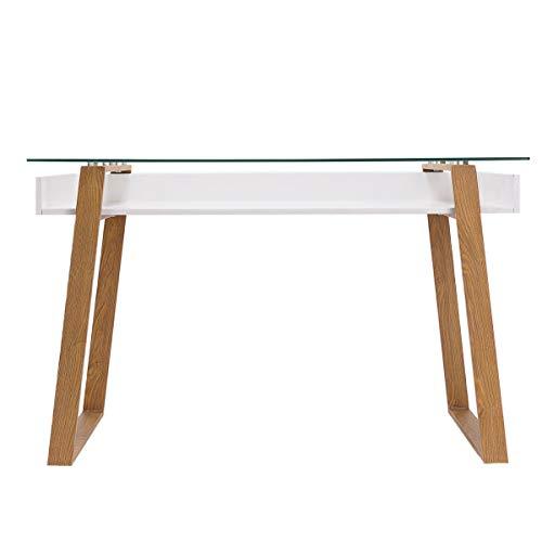 Pureday Schreibtisch Nizza - Mit Glasplatte - Modern - Weiß Natur - ca. B120 x T60 x H76 cm