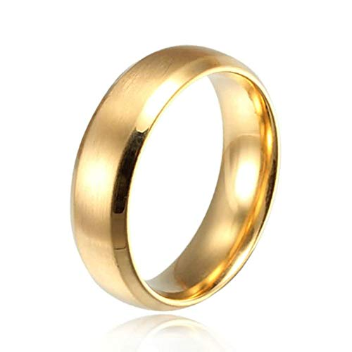 SonMo Ringe Silber 925 Unisex Siegelring Zum Gravieren Hochglanzpoliert Ringe Silber Männer Gold 6Mm Eheringe Matt Gold für Paar 57 (18.1)