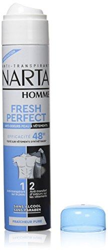 NARTA Déodorant Bille pour Homme Fresh Protect Anti-odeurs Peau/Vêtements Efficacité 48 h 200 ml