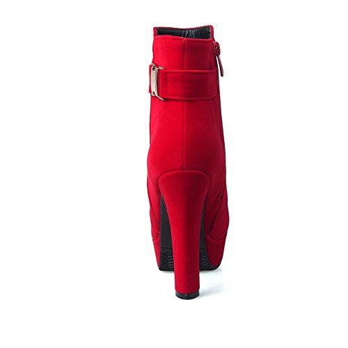 VogueZone009 Donna Bassa Altezza Cerniera Tallone Spesso Punta Tonda Stivali Rosso