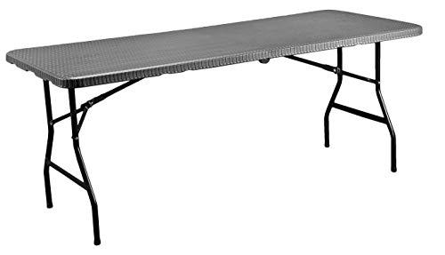 CON:P Tisch klappbar - Moderne Rattan-Optik - anthrazit - Pflegeleichtes Material - 180 x 76 x 74 cm - Wetterfester Gartentisch für draußen/Klapptisch/Campingtisch/Bierzeltgarnitur / B46506