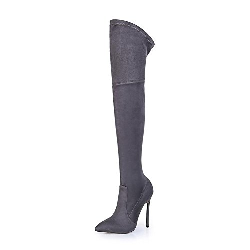 Donna Al di sopra Ginocchio Coscia Elastico Stivali Stiletto alto Tacco Scarpe Nero Marrone Macchia appuntito Autunno Inverno Gray
