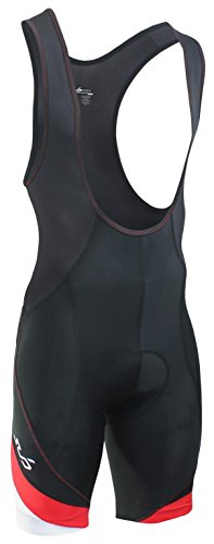 Sub Sports Herren Gepolsterte Träger-Radhose / Bib-Shorts, Kompressionspassform - Schwarz / Rot Mix - XL (Elite-jersey-shorts)