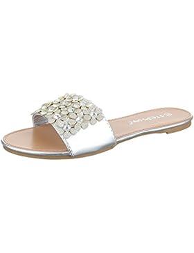 Pantoletten Damen Schuhe Jazz & Modern Strass Besetzte Ital-Design Sandalen / Sandaletten