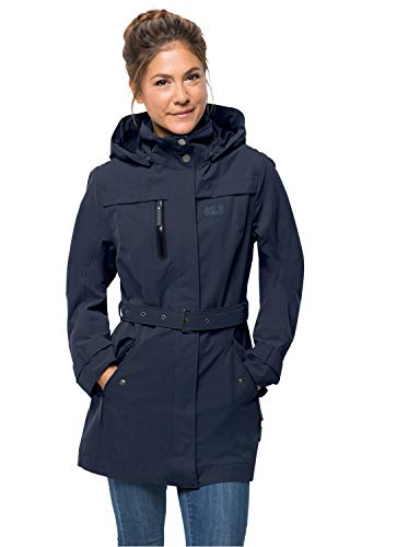 Jack Wolfskin Damen Kimberley Coat Atmungsaktiv Wasserdicht Winddicht Outdoor Funktionsmantel Trenchcoat Mantel, Midnight Blue, S