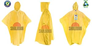 SHALIMAR Unisex Cross Laminated Reusable Rain Poncho (Super) Pack of 4 Multicolor, Free Size