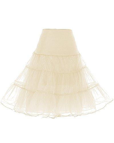 Dresstells 1950 Petticoat Reifrock Unterrock Petticoat Underskirt Crinoline für Rockabilly Kleid Champagne L (Brautkleid Petticoat)