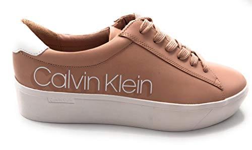 Calvin Klein Sneaker Casual Donna Modello Janika con Suola Alta B4E6291 in Pelle. con Impunture Tono su Tono e Lacci. Autunno-Inverno 2019-2020. EU 36