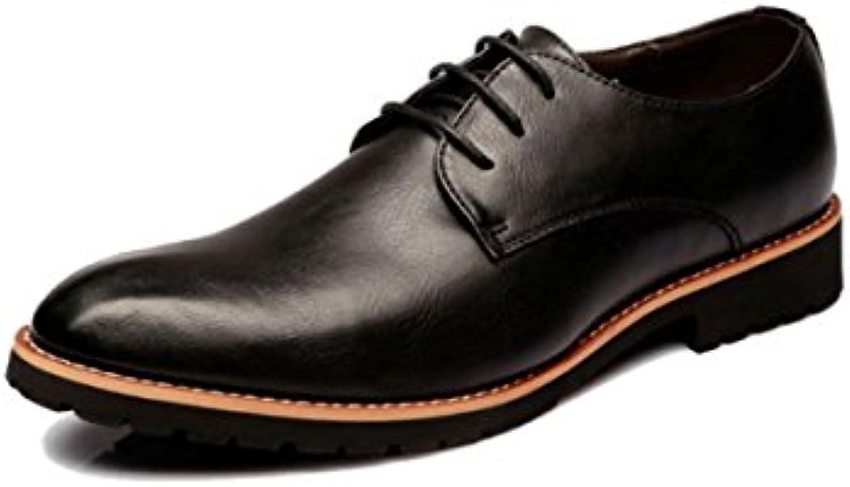 LYZGF Hombres Jóvenes Primavera Y Otoño Negocios Ocio Moda Encaje Zapatos De Cuero,Black-39
