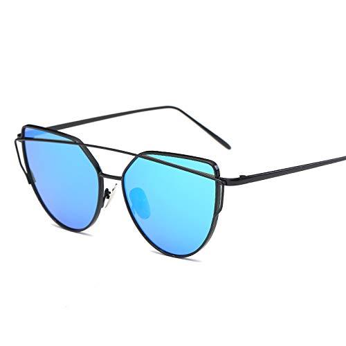 LIUYIAO Damen Sonnenbrillen Sonnenbrillen Damen Europa Und Die Vereinigten Staaten Flut Outdoor UV Driving Sonnenbrillen Round Face Star Models Sonnenbrillen Cat Eyes,Blue
