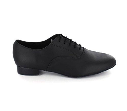 Bild von MINITOO jf250501bequemer Herren Leder Ballsaal Latein Tanzschuhe, Schwarz (Leather-Black), 40