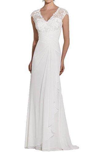 Promgirl House Damen Glamour Spitze Chiffon Mermaid Abendkleider Cocktail Hochzeits Ballkleider Lang Weiß
