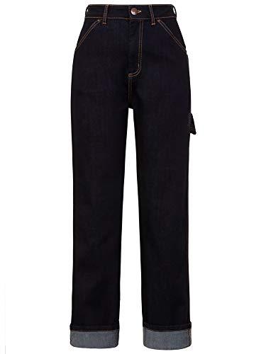 Hell Bunny Damen 50er Jahre Jeans Carpenter Denim 5472 (3XL, Dunkles Jeansblau) Denim Carpenter Jeans