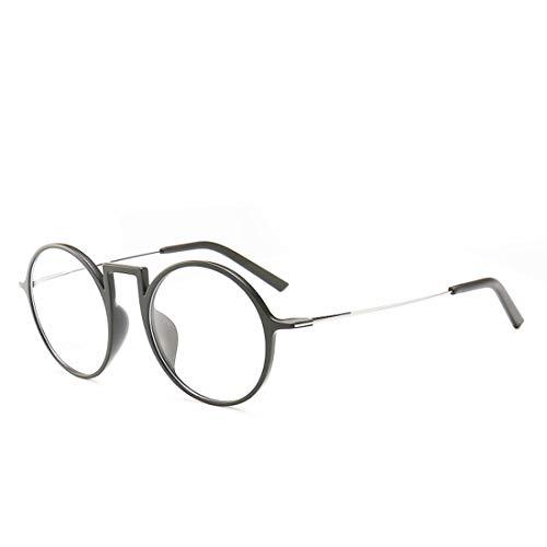 Chengduaijoer Retro Unisex runde Brille Nicht verschreibungspflichtige Brille für Frauen, Männer (Color : Black)
