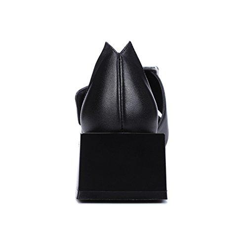 ENMAYER Femmes Vache Cuir Carré Toe talons carrés Décorations en métal Slip-on Sandales Casual Dress Noir