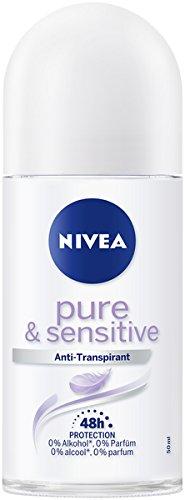 Nivea Pearl (NIVEA Pure & Sensitive Deo Roller im 6er Pack (6 x 50 ml), Antitranspirant Roll On geeignet für empfindliche Haut, Deodorant mit 48h Schutz)
