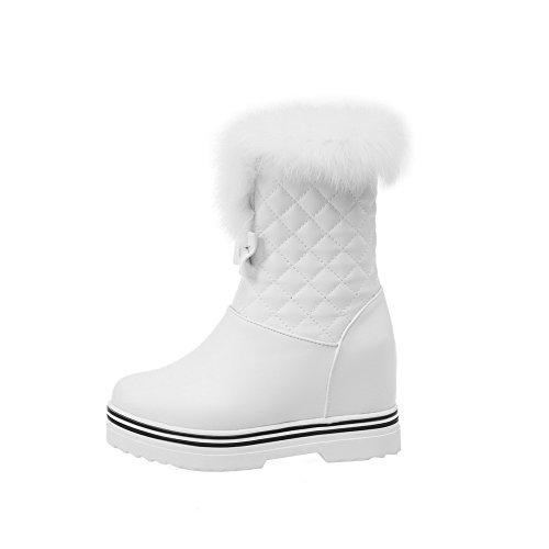 AllhqFashion Damen Rund Zehe Hoher Absatz Niedrig-Spitze Rein Stiefel mit Schleife Weiß