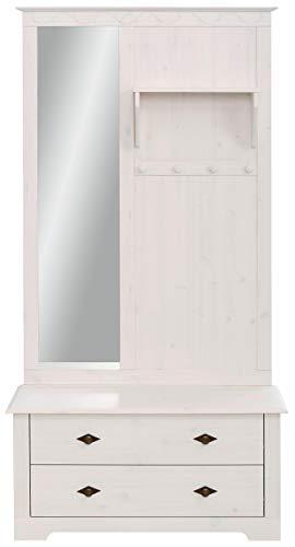 Loft 24 A/S Kompaktgarderobe Dielenschrank Garderoben-Set Flurmöbel Landhausstil Kiefer Massivholz Sitzbank 2 Schubladen Spiegel 1 Paneel 95 x 45 x 181 cm weiß