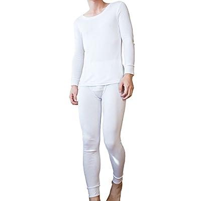 Godsen Men's Thermal Base Layer White Long Sleeve Vest & Long Johns Set XS-XL