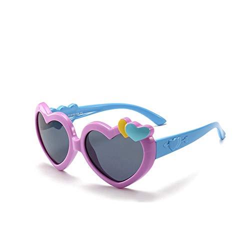 ZHAOSHUNAN Sonnenbrillen Niedliche Herz Sonnenbrille Kinder Polarisierte Mädchen Rahmen Brille Weiche Schutzbrille Kinderschatten, E