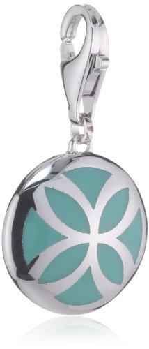 Esprit Jewels Damen-Charm blühend flora pacific turquoise 925 Sterling Silber ESCH91310A000