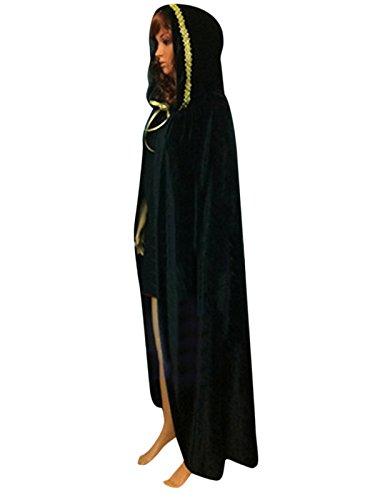 asching Umhang Cape mit Kapuze Dunkelgrün (Teufel Halloween Kostüme Für Erwachsene)
