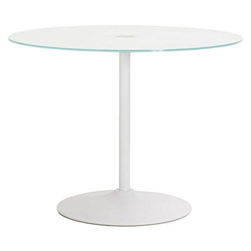 M.K.F. Table Design Ronde Milan en Verre et métal (Ø 100 cm) (Blanc)
