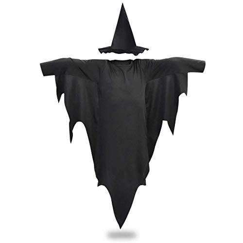 QYS Kostüm VIP Express Kids Schwarz Glitzer Glitzernde Hexe Halloween Kostüm Kit Hut Umhang Cape,Set,130cm - Black Sparkle Hexe Hut