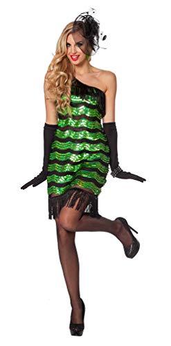 Karneval-Klamotten Charleston Kostüm Damen 20er Jahre Kostüm Pailletten grün schwarz Retro Damen-Kostüm Größe 38
