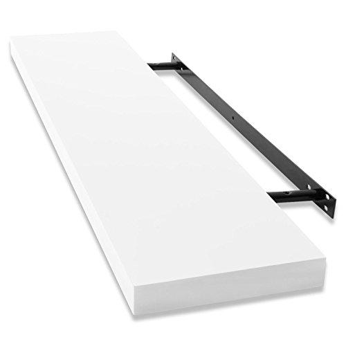 casa pura® Design Wandregal Stockholm | Hochglanz | freischwebend (versteckte Halterung) | gesundheitsfreundliche Materialien | in 5 Farben und 3 Längen (weiß, 60cm)