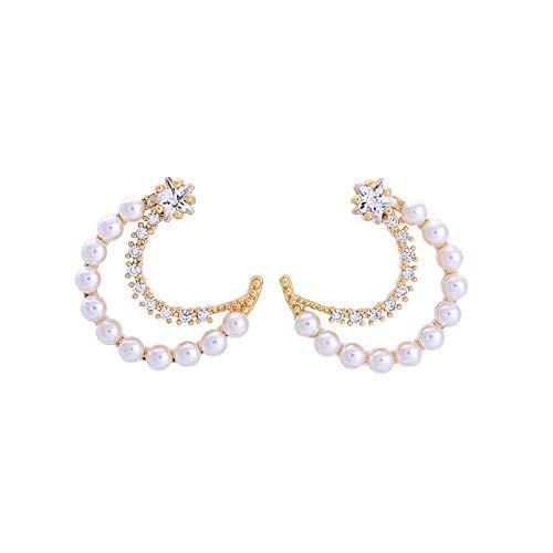 Chic Imitation Perle Strass Sterne Mond Ohrstecker Gold Farbe Kupfer Schmuck Frauen Zubehör Geburtstagsfeier ()