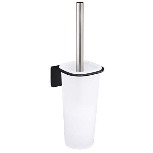 WEISSENSTEIN Toilettenbürstenhalter Set zur Wandmontage ohne Bohren - WC-Ganitur Set mit Bürste, Bürstenhalter aus Glas, schwarzer Edelstahl Halterung zum kleben