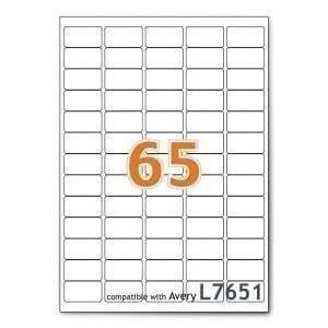 6500 étiquettes 38.1mm x 21.2mm - 65 étiquettes - autocollants - 100 feuilles A4