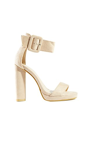Women's Ladies Faux Suede Buckle Platform Heels Off-White