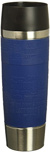 Emsa 515618 Isolierbecher (Mobil genießen, 500 ml, Quick Press Verschluss, Travel Mug Grande) blau