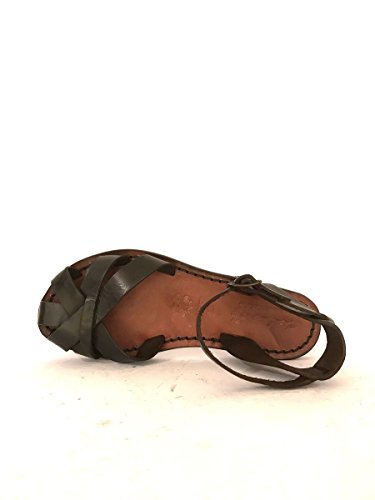 Sandali tacco basso cinturino caviglia sabot artigianali MainApps Marrone