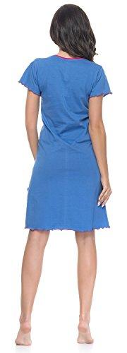 Camicia da notte per maternità e allattamento laterale per camicia colore grigio, 100% cotone, colore: blu cielo Grigio