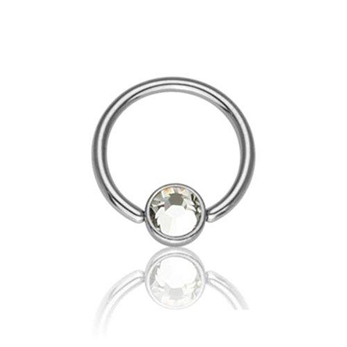 eeddoo® 8 mm - 3 mm - AQ - Aqua Marine - Titan - BCR Klemmring - Kristall - 1,2 mm (Piercing Ball Closure Ring für u.a. Brustwarzen-, Nasen-, Septum- und Ohrpiercings) (Rose Marine-ring)
