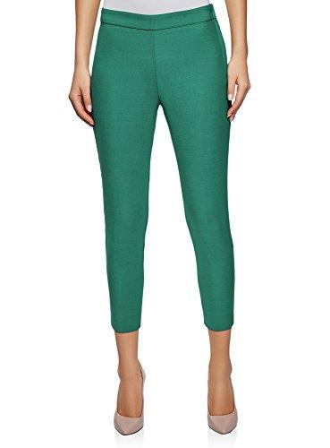 oodji Ultra Damen Enge Hose mit Reißverschluss an der Seite, Grün, DE 34 / EU 36 / XS - Damen Business-kleidung