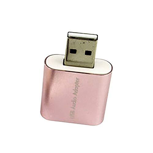 YUnnuopromi Virtueller 7,1 Kanal Mikrofon-Konverter-Adapter Externe USB-Audio-Sound Karte Rosa