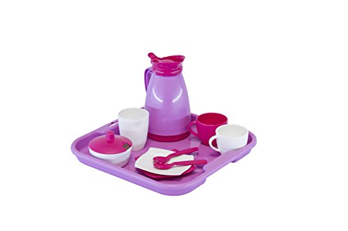 Wader 23014 - Kaffeeservice 'Girls' für 2 Kinder auf Tablett
