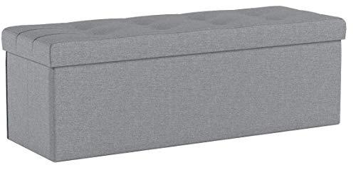 SONGMICS Stizbank, 110 cm lang, Sitztruhe mit 120 L Stauraum, belastbar bis 300 kg, aus Leinen, hellgrau LSF77G