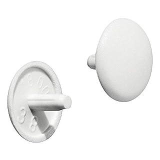 Gedotec Möbel-Abdeckkappen rund Verschluss-Stopfen für Kopflochbohrung PZ2 Schrauben-Kappen Kunststoff   H1115   Ø 12 x 2,5 mm   weiß   50 Stück