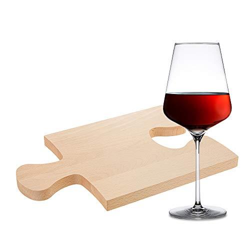 Casa Vivente - Geschenk-Set für Feinschmecker - Weinglas und Puzzlebrett - Schneidebrett aus Holz - Formschöne Servierplatte - Geschenkidee zum Geburtstag - Geschenk für Frauen und Männer