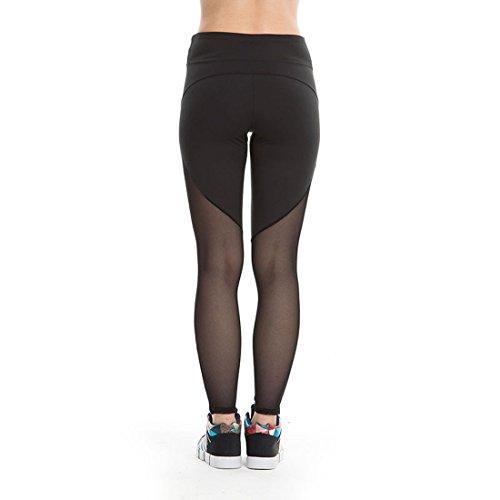 Vertvie Femme Leggings de Sport Pantalon Patchwork Mesh Sheer Collant Stretch Extensible pour Yoga Fitness Jogging Gym Noir